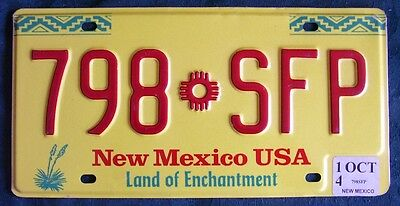 NEW MEXICO 798SFP Yellow Yucca AMERICAN LICENSE NUMBER PLATE
