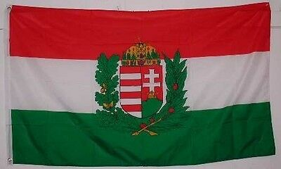 Hungary with Crest Flag 3ft x 5ft Country Banner 90cm x 150cm