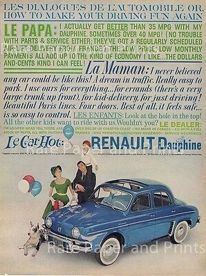 1959 Blue Renault Dauphine Whitewalls Sun Roof Vintage Original Petite Car Ad