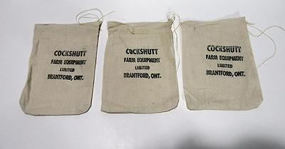 Cockshutt Farm Equipment tractor cloth parts bags x3 New Old Stock Brantford Ont