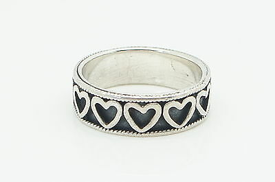 Vintage Wide 925 Sterling Silver Heart Band Ring, Size K 1/2