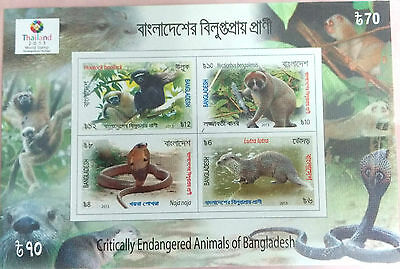 107.bangladesh 2013 Imperf Stamp M/s Critically Endangered Animals With O/p.mnh