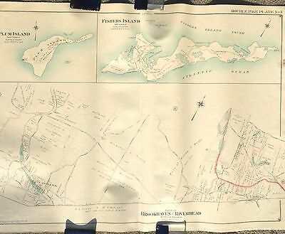 1909 Brookhaven Riverhead  Yaphank Plum & Fishers Island Li Ny Copy Atlas Map