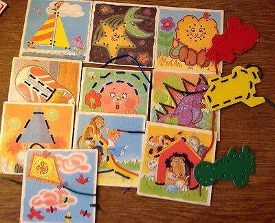 Lakeshore Lace-up Boards Cards 1992 Educational Set of 13