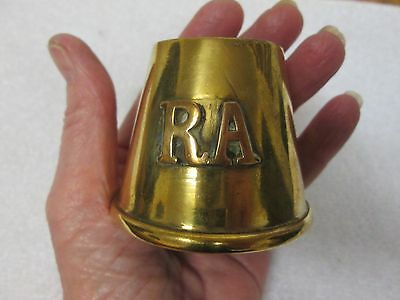 Trench Art Brass Fuse Cap/ Casing R.a/ Royal Artillery (Ashtray/ Match Holder)
