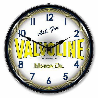 Valvoline Motor Oil Lighted Wall Clock ~ Collectable Sign & Clock Model #1009262