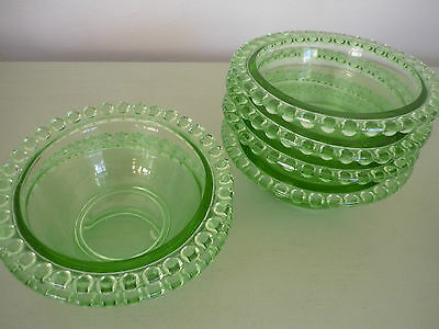Set of Six Vintage Green Glass Bowls/Dishes