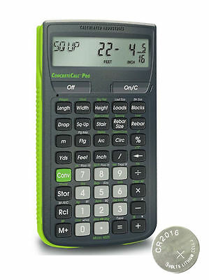 Calculated Industries ConcreteCalc Pro Calculator 4225 with Spare CR2016 Battery