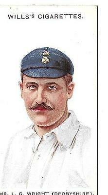 WILLS - CRICKETERS, 1908 - CARD #26 - MR. L.G. WRIGHT - SMALL 's' - VERY GOOD