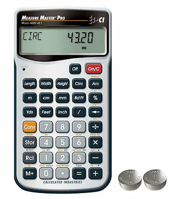 Calculated Ind. Measure Master Pro Calculator 4020 with Spare LR44 Batteries