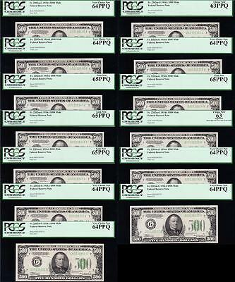 "Amazing ""13 CONSECUTIVE"" 1934 A $500 Bills Chicago FRN Notes!! PCGS GEM & CHOICE"