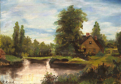 P. Reed - 19th Century Oil, House by the River