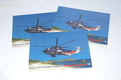 British International Helicopters Postcards X3 Fly To The Isles Of Scilly Rare