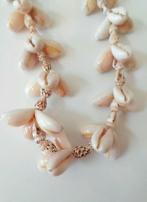 """Vintage Seashell Necklace, Cluster Cowrie Shells, 36"""" Long Beach, Surfer, Island"""