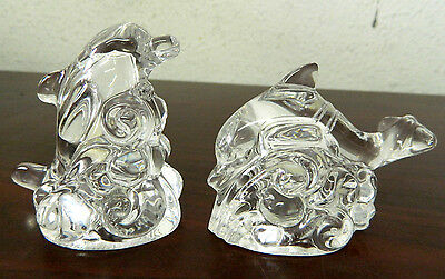 Lenox Full Lead Crystal Salt & Pepper Shakers - Dolphins, Made in Czech Republic