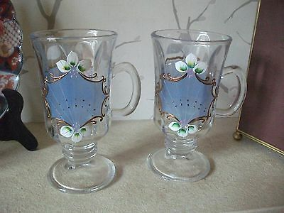 Pair (2) Vintage Painted Decoration Glass Handled Goblets