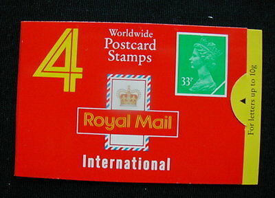 Great Britain Unexploded Complete Postage Stamp Booklet 4 international 33 p U)