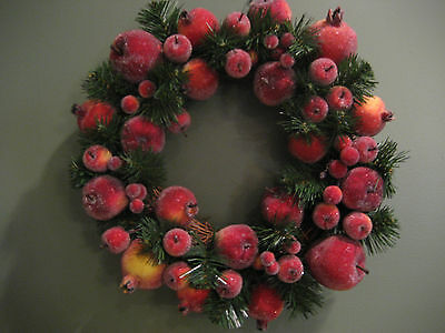 """Sugared, Beaded Apple And Berries Fruit  17"""" Holiday Wreath"""
