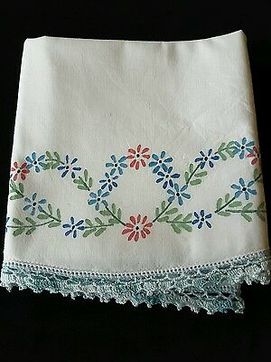 Vintage Painted Pillowcase with Crocheted Trim Linens