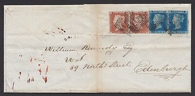 1841 Pair of 1d reds and 2d blues on cover