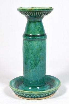 Antique Chinese Green Glazed Pottery Candlestick, Early 19thC.