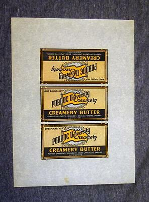 Vintage Purdue University Creamery Uncut Butter Labels Sheet 3 on a Page