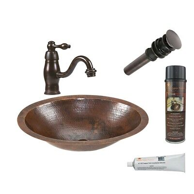 BSP3_LO17FDB   Small Oval Under Counter Hammered Copper Sink With ORB  Single Han
