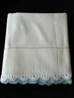Vintage White Pillowcase with Blue and White Crocheted Trim Linens