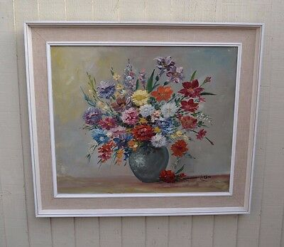 Lovely Large Oil Painting Flowers in Vase Very Pretty Shabby Chic Vintage Retro