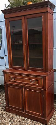Antique Victorian Edwardian Mahogany Secretaire Writing Bureau Desk Bookcase