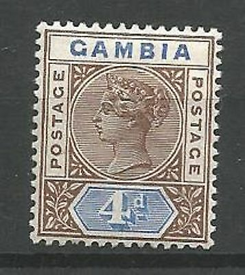 GAMBIA 1898-1902 SG42 4d Brown and Blue Mounted Mint