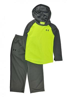Under Armour Boys Neon Yellow L/S Thermal Hoodie Top 2pc Pant Set Size 5