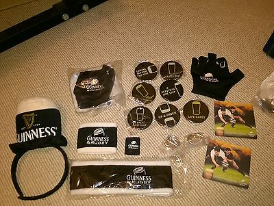 guinness collectables joblot RUGBY BADGES GLOVES SWEAT BANDS BEERMATS KEYRINGS