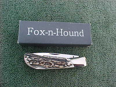 Collectible FOX - N - HOUND Lockback Pocket Knife Stag Made In Italy NIB Free SH