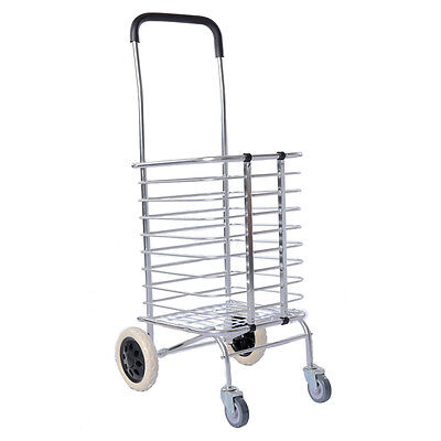 Lightweight Aluminum Foldable Shopping Trolley Portable Grocery Folding Cart