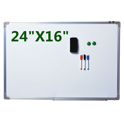 "NEW Single Side Magnetic Writing White Board 24""x16"" Office School Dry Erase"