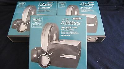 Lot of 3 Sawyers Rototray 100 Slide Tray NEW in Box for 2 x 2 Slides