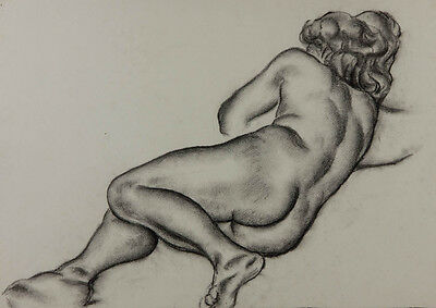 Robert Mackechnie - Mid 20th Century Charcoal Drawing, Female Nude