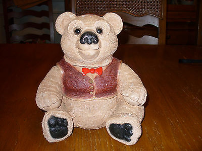 """Teddy Bear Figurine Coin Bank By Bank Makers of America 7"""" tall"""