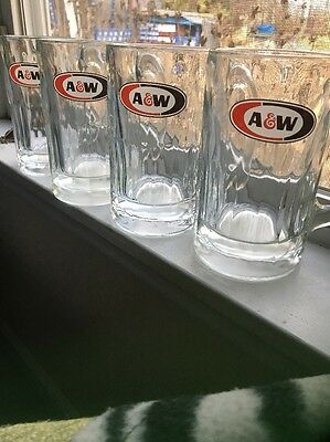"""2 VINTAGE  A & W ROOT BEER MUGS 16 OZ.  Heavy Clear Glass - 6"""" Tall"""