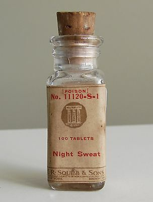 Antique/VTG Drug Store Pharmacy Apothecary Medicine Bottle POISON RX206