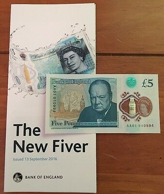 Rare Low Serial Number AA01010 New UK Polymer Five £5 Pound Note Fiver - AA01
