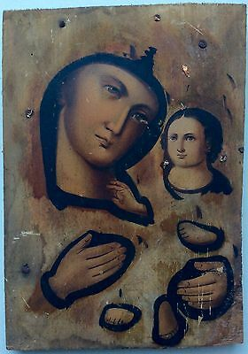 VIRGIN MARY - ANTIQUE OLD RUSSIAN HAND PAINTED WOODEN ICON, 170mm x 120mm