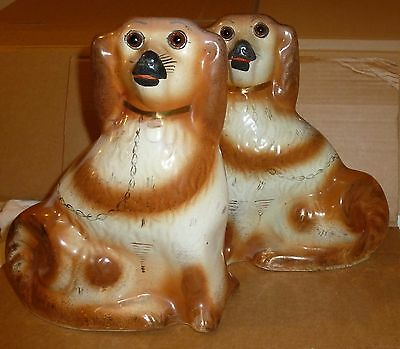 Victorian Antique Scottish / Staffordshire Pottery Mantle Dogs