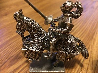 Solid Silver Knight On Horse