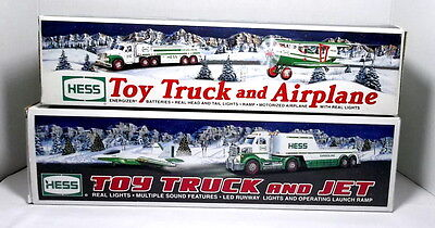 HESS TOY TRUCKS LOT OF 2 TRUCK and AIRPLANE 2002 TRUCK and JET 2010 MINT COND.