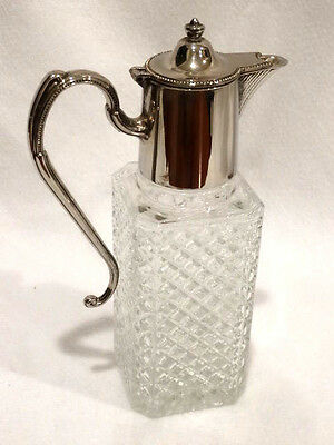Vintage Pressed Glass Syrup Carafe with Hinged Silver Plate Top