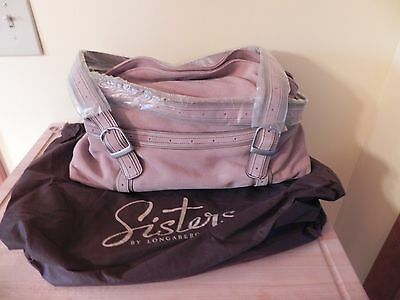 Longaberger ~ Sisters ~  Suede Leather Handbag / Purse ~ Taupe ~ New