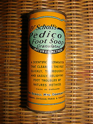 Vintage Collectible Dr Scholl's Pedico Foot Soap Granulated in Tin with Contents