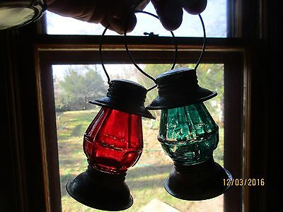 Lot of 2  glass lantern candy containers with flashed color  Avor brand